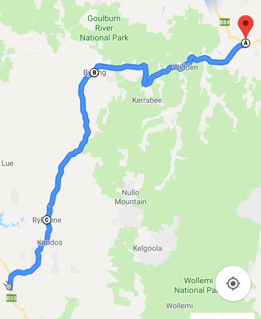 Route Bylong Valley Way NSW